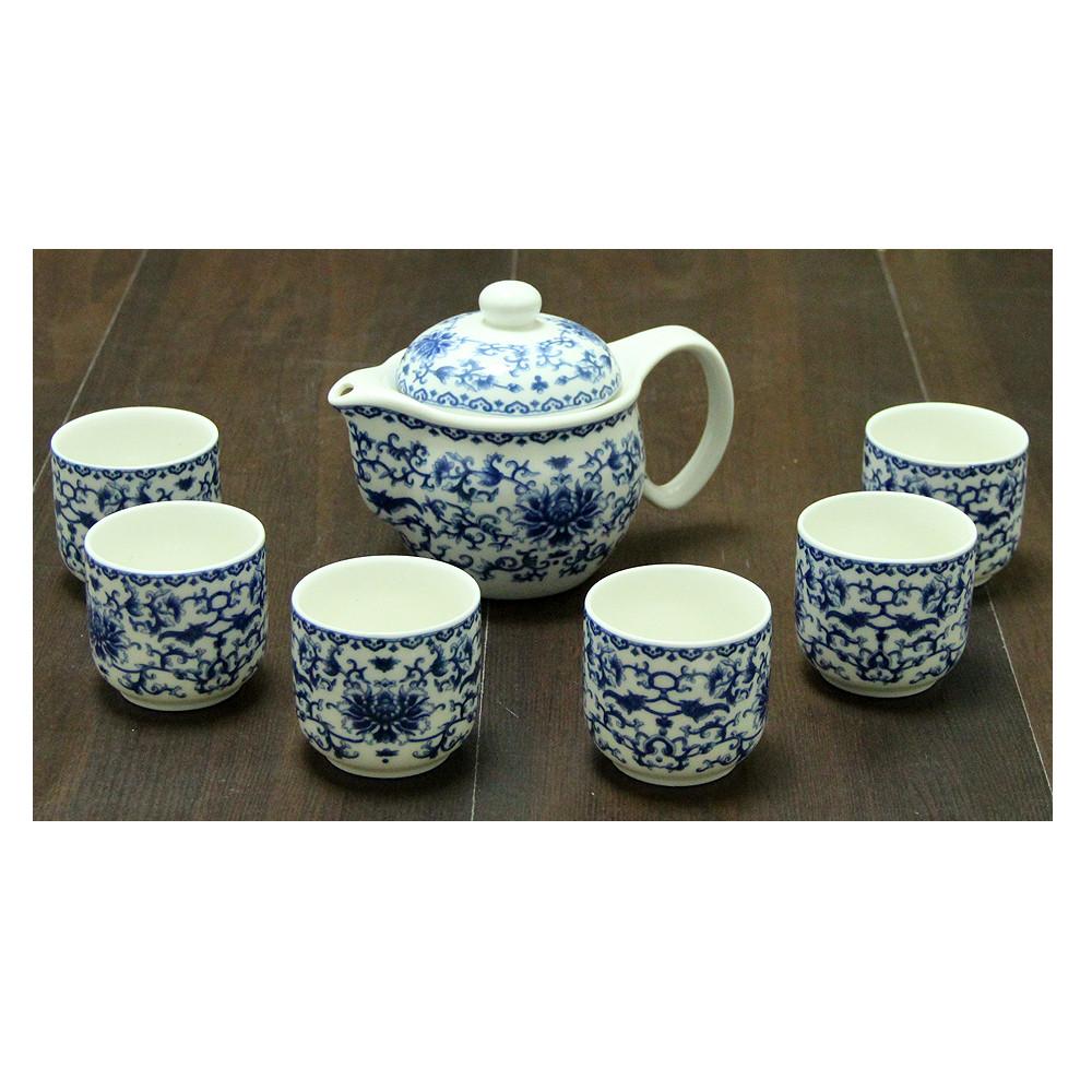 Набор 6 пиал 100 мл + чайник 475 мл «Синий дождь»