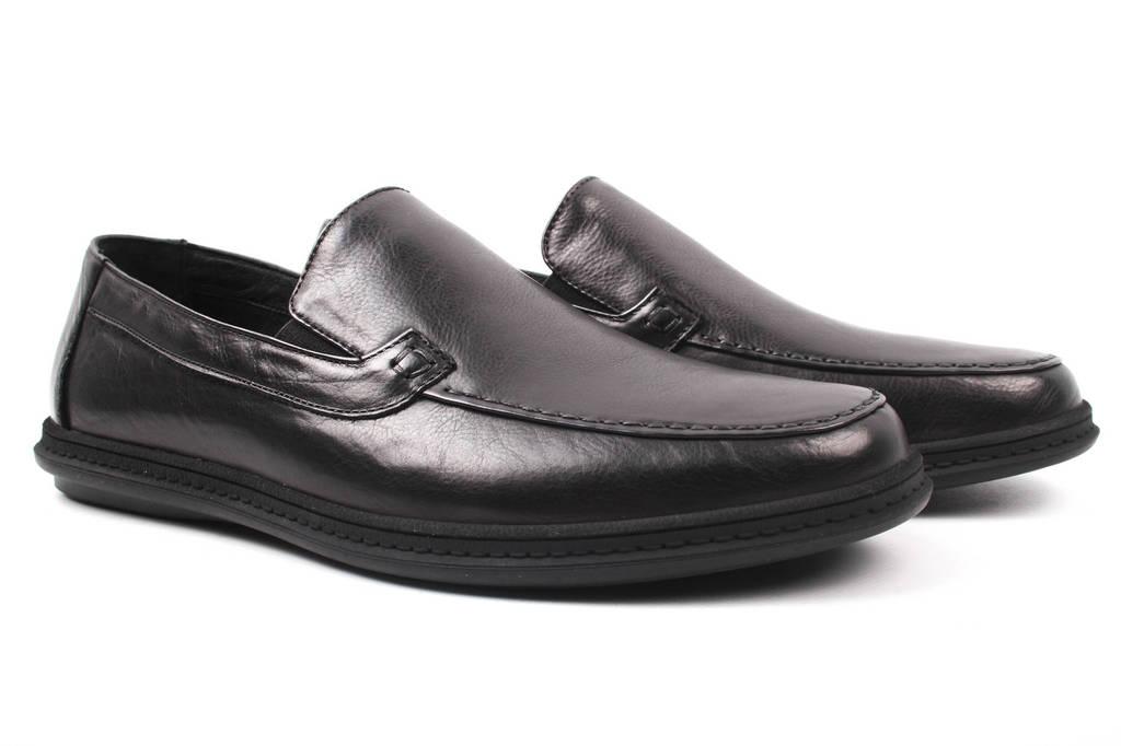 Туфли мужские Brooman натуральная кожа, цвет черный (мокасины, платформа, весна\осень)