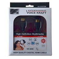 "Шнур HDMI (штекер - штекер) v.1.4, диам.-6мм, ""позолоченный"", 2м, чёрный (в коробке), фото 1"