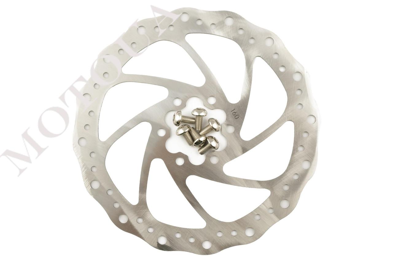 Диск тормозной велосипедный (mod:3, Ø160mm, на 6 болтов) FEIX