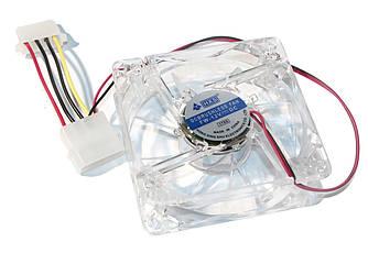 Вентилятор 80 mm Merlion 8025 прозрачный DC sleeve fan 4pin - 80*80*25мм, 1500об