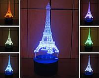 3d-светильник Эйфелева башня, 3д-ночник, несколько подсветок (на батарейке)