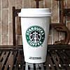 Чашка керамическая с силиконовой крышкой с поилкой Starbucks