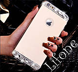 Чехол для Айфона 7 зеркальный золотой со стразами, фото 2