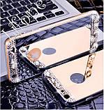 Чехол для Айфона 7 зеркальный золотой со стразами, фото 8