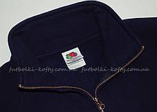 Женская премиум толстовка на замке без капюшона Глубоко Тёмно-синяя  Fruit Of The Loom 62-116-AZ  M, фото 2