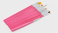 Розовые кисточки для маникюра набор, 15 шт, фото 1