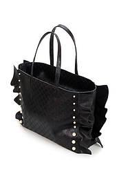 Женская сумка шоппер черная кожаная тисненная чешуёй (30-02)