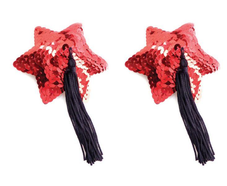 Наклейки для сосков Red Star Shape Sequin Pasties 8cm