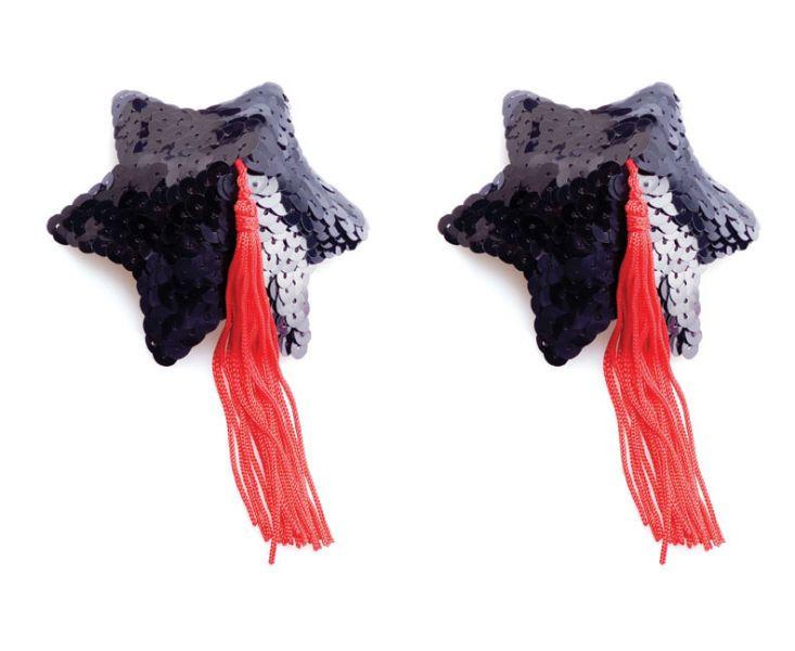 Самоклеющиеся наклейки на соски Black Star Shape Sequin Pasties 8cm