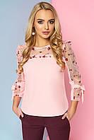 """Красивая женская нарядная блузка со вставкой из сетки с вышивкой и рюшами """"Джорджия"""" (персик)"""