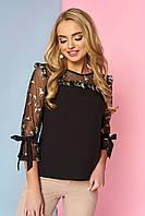 """Красивая женская нарядная блузка со вставкой из сетки с вышивкой и рюшами """"Джорджия"""" (черный)"""