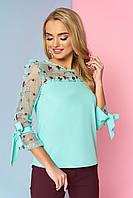 """Красивая женская нарядная блузка со вставкой из сетки с вышивкой и рюшами """"Джорджия"""" (минт)"""