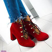 Женские красные ботильоны на шнуровке с жемчугом