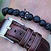 Мужской женский браслет из натуральных камней, каменный браслет, чоловічий жіночий браслет Black Crown, фото 6