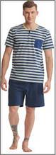 Пижама мужская польская хлопок трикотаж полоска шорты футболка Key Кей MNS 037 А8