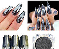 Зеркальная втирка для дизайна ногтей (черная)
