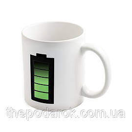 Чашка хамелеон Батарейка (белая)