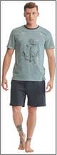 Пижама мужская польская хлопок трикотаж серая якорь шорты футболка Key Кей MNS 333 А8