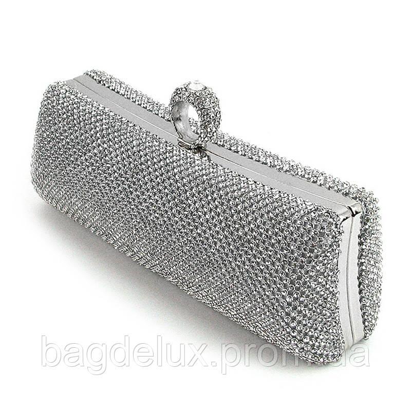 b32647f5b677 Клатч со стразами серебро женский выпускной вечерний сумочка для торжеств  Rose Heart 2639-1