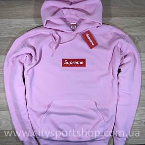 Кенгурушка Supreme с Вышивкой | Розовая толстовка Supreme, фото 2
