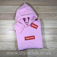 Кенгурушка Supreme с Вышивкой | Розовая толстовка Supreme качественная реплика