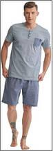 Пижама мужская польская хлопок трикотаж серая карман шорты футболка Key Кей MNS 367 А8