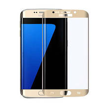 Защитное стекло 3D для телефона Samsung S7 Edge (G935) Золото