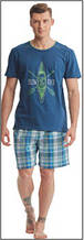 Пижама мужская польская хлопок трикотаж синяя рисунок клетка шорты футболка Key Кей MNS 420 А8