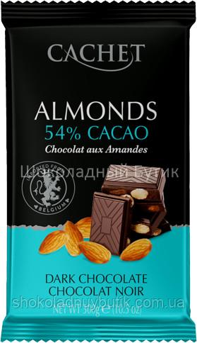 Шоколад CACHET,чёрный 54% с Миндалём, 300г.