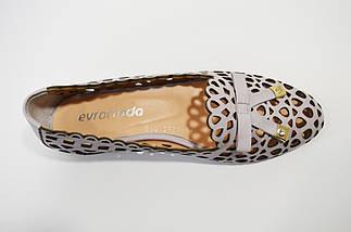 Балетки перфорированные женские лиловые Euromoda 3939, фото 3