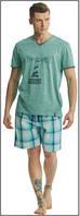 Пижама мужская польская хлопок трикотаж зеленая рисунок клетка шорты футболка Key Кей MNS 448 А8