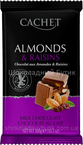 Шоколад CACHET, чёрный 54% с Миндалём и Изюмом, 300г.