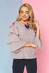 """Женская нарядная блузка с брошкой и широкими рукавами с воланами """"Каролина"""" 9"""