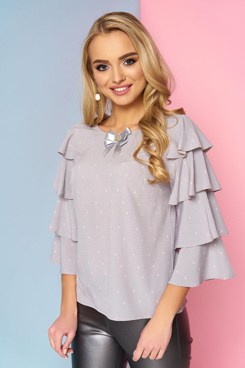 89205b3b420 Женская нарядная блузка с брошкой и широкими рукавами с воланами
