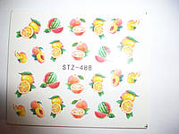 Наклейки - слайдеры на ногти - сладости и фрукты.