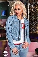 Модная джинсовая женская куртка с люверсами, фото 1
