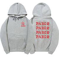 Худи Kanye West - I Feel Like Pablo серое с логотипом, унисекс (мужское,женское,детское)