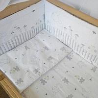 Набор постельного белья в детскую кроватку из 4 предметов Зайка серый