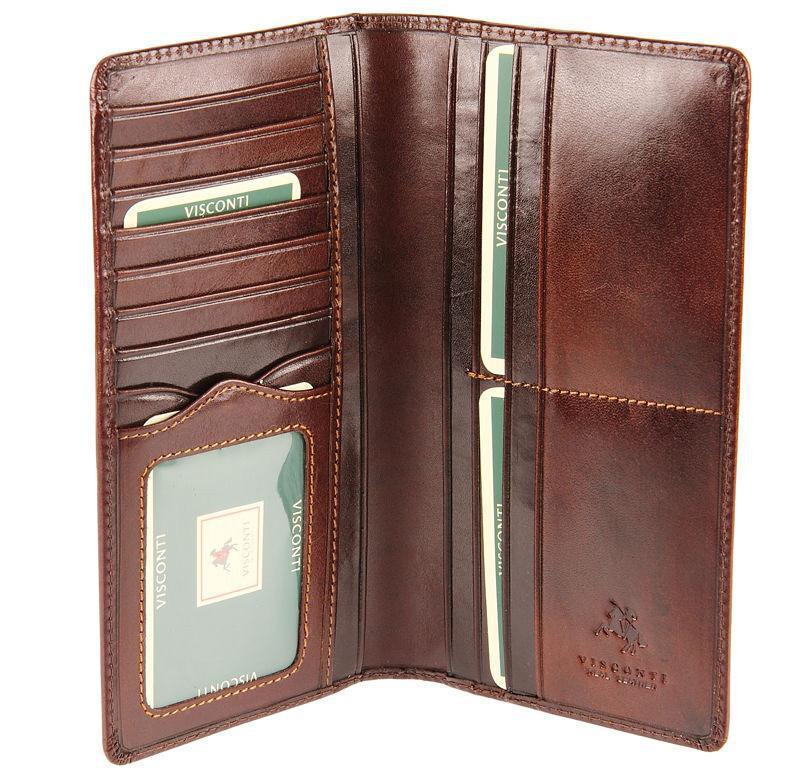 Мужской бумажник кожаный коричневый Visconti MZ-6/R Ita Brn