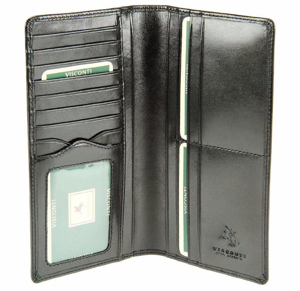 Мужской бумажник кожаный черный Visconti MZ-6/R Ita Blk