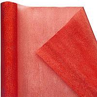Органза snow, красная (47 см х 7 м)