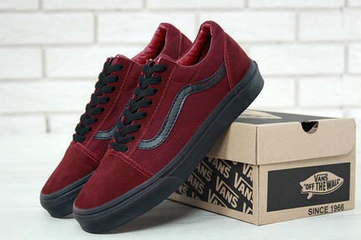 Мужские кеды Vans Old Skool (в стиле Ванс Олд Скул) красные с черным ... 9d1a73f6c02