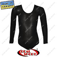 Купальник для танцев и гимнастики классический черный L (рост 134-146 см), фото 1