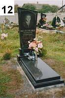 Одинарный памятник с закрытым цветником срез по диагонали из гранита