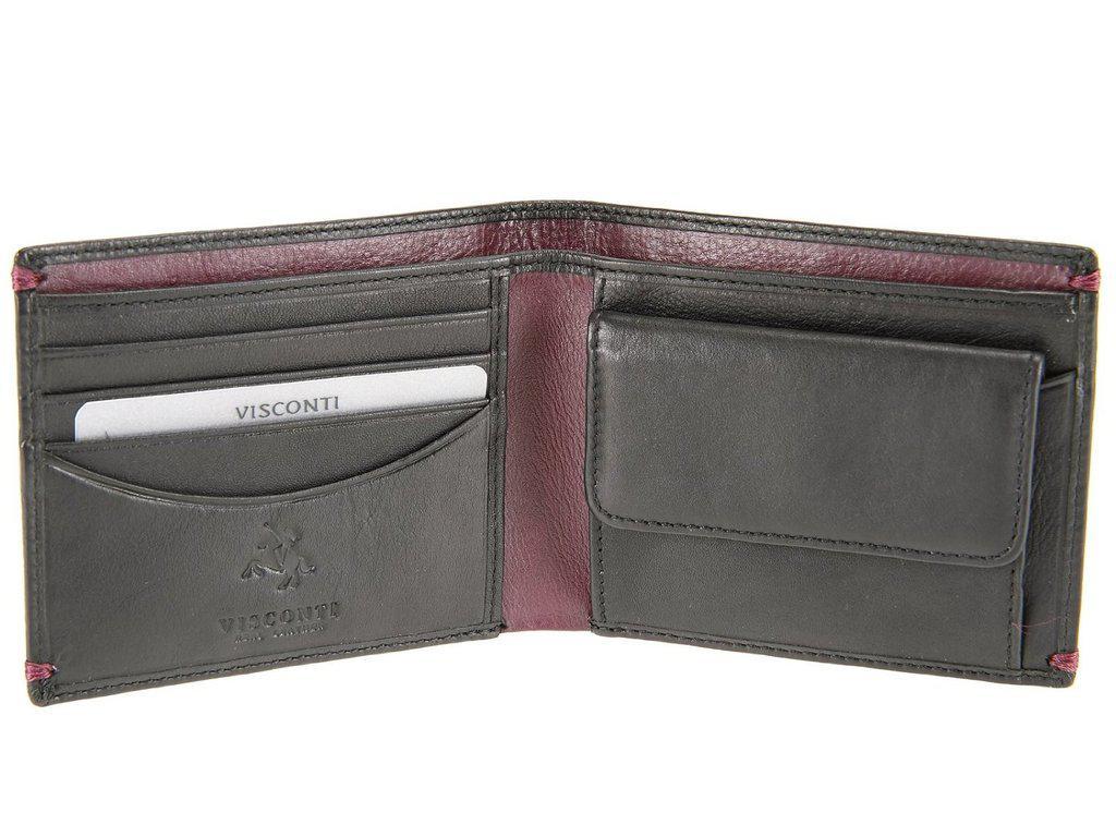 Мужской кошелек из натуральной кожи черный Visconti AP-62 Black/Burgundy