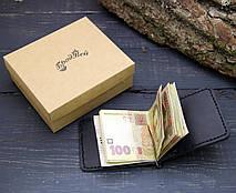 Кожаный кошелек с зажимом для денег и отделением для мелочи (281005) - чёрный, фото 2
