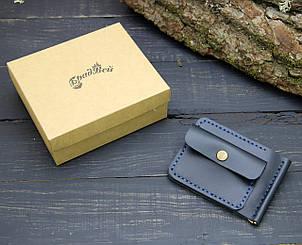 Кошелек БрадВей кожаный с зажимом для денег и отделением для мелочи синий (281022), фото 2