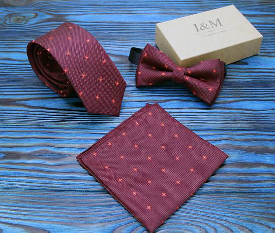 Комплект галстук, бабочка, платок паше I&M (0202003) бордовый, фото 2