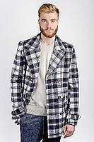 Пальто мужское осеннее №225KF001 (Сине-молочный)